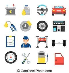 vogn tjeneste, iconerne, set., forskellige, dele, i, automobile., vektor, illustrationer, ind, lejlighed, firmanavnet