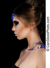 vogue., artistique, profil, de, jeune femme, à, branché, charmant, maquillage