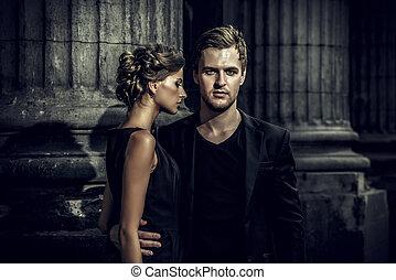 vogue couple - Fashion style photo of a beautiful couple...