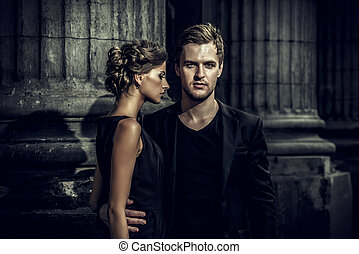 vogue couple - Fashion style photo of a beautiful couple...