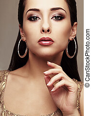 vogue, portræt, i, mode, makeup, kvindelig, model., closeup