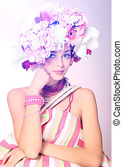 vogue spa - Portrait of a beautiful spring girl wearing ...