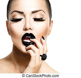 vogue, style, mode, girl, à, branché, caviar, noir, manucure