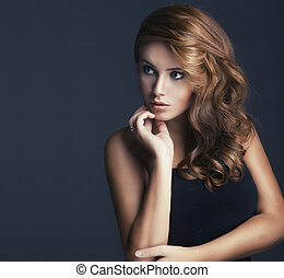 vogue style portrait of beautiful delicate woman