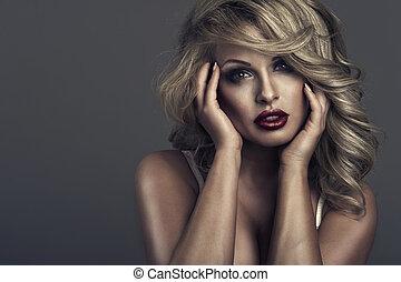 vogue style portrait of beautiful delicate woman
