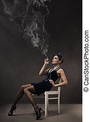 Vogue style retro portrait - 30s lady