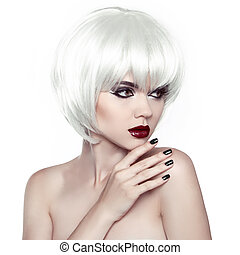 Vogue Style Woman. Fashion Stylish Beauty Woman Portrait with White Short Hair. Hairstyle. Manicured nails.