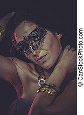 Vogue Woman mask, sensual lady with venetian and gothic style