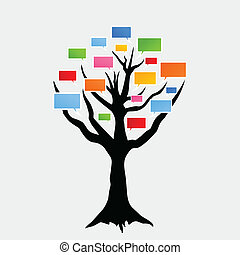 Voice a tree - Speaking tree on a white background. A vector...