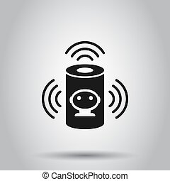 Voice assistant icon in flat style. Smart home assist vector illustration on isolated background. Command center business concept.