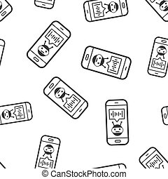 Voice assistant on smartphone icon seamless pattern background. Sound record vector illustration on white isolated background. Chat recognition business concept.