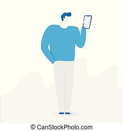 Voice assistant, voice recognition technology illustration...