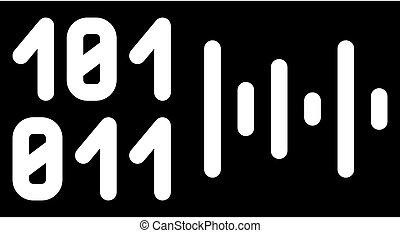 voice binary code glyph icon vector illustration