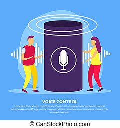 Voice Control Flat Background