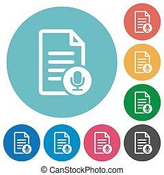Voice document flat round icons