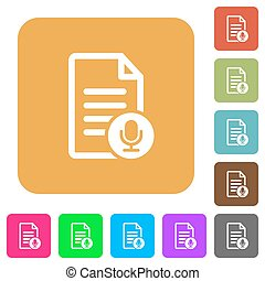 Voice document rounded square flat icons