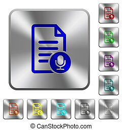Voice document rounded square steel buttons