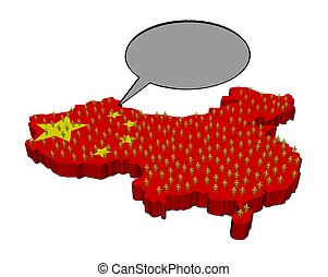 Voice of Chinese population on map flag illustration