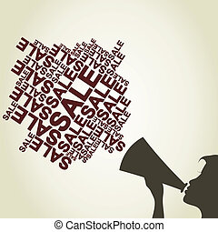 The girl shouts in a megaphone advertising. A vector illustration