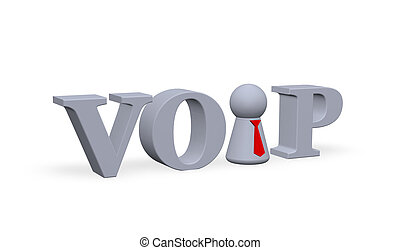 voice over ip - play figure with tie and the letters voip -...