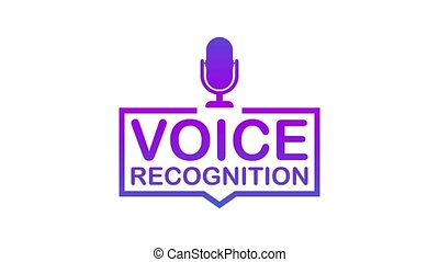Voice recognition. Badge, icon stamp logo Motion graphics