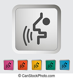 Voice recognition button. Single icon. Vector illustration.