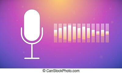 Voice recognition concept. Gradient background