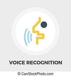Voice recognition icon flat - Voice recognition icon vector....