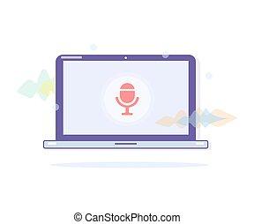 Voice recognition. Laptop voice control.