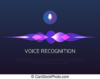 Voice recognition. Sound waves and microphone. Personal assistant and artificial Intelligence. Mic button with gradient soundwaves. Voice imitation and intelligent technologies. Vector illustration