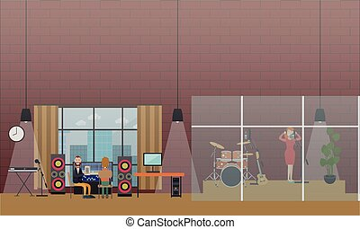 Voice recording for radio broadcast vector flat illustration
