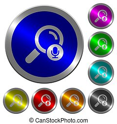 Voice search luminous coin-like round color buttons