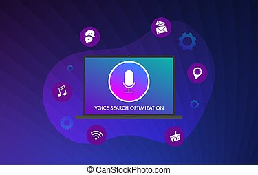 Voice search optimization flat vector illustration concept. ...