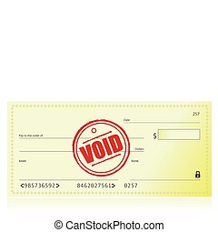 Void Bank Check illustration isolated over a white...
