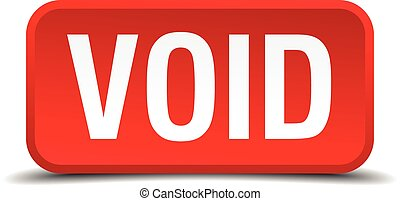 Void red 3d square button isolated on white