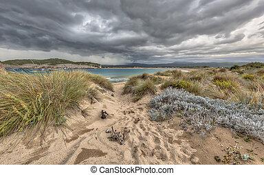 voidokilia, dune, orage, sous, plage, végétation