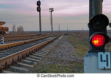 voie chemin fer, et, lumière arrêt