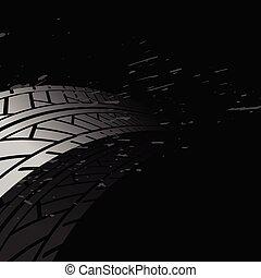 voie pneu, arrière-plan noir, marques, impression