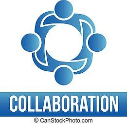 voilà, 4, groupe, collaboration., gens