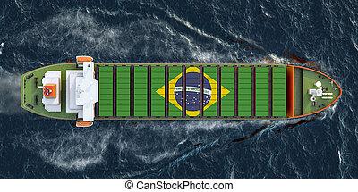 voile, cargo fret, brésilien, récipients, océan, 3d, rendre, bateau