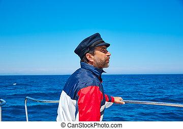voile, casquette, océan, marin, mer, homme, bateau, barbe