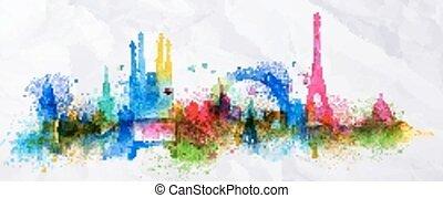 voile de surface, ville, silhouette, paris