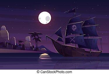 voile, inhabité, île, vecteur, bateau, pirate