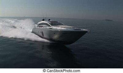 voile, luxe, bateau, vue, aérien