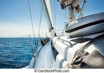 voile, nautisme, concept., voyager, yacht., luxe, beau