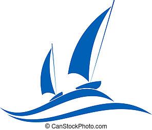 voile, ou, nautisme, emblème