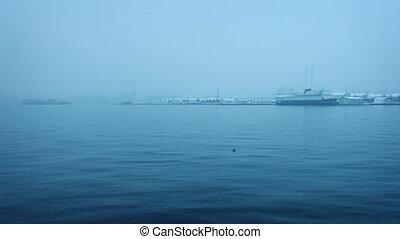 voile, passé, docks, dans, hiver, à, neige, tomber