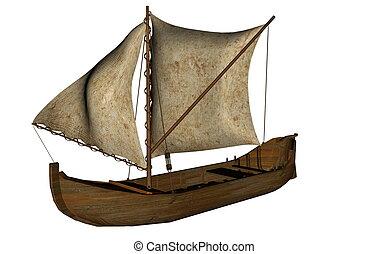 voile, render, -, petit bateau, 3d