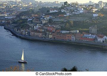 voile, rivière, porto, douro, yacht