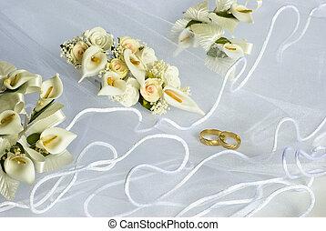 voile, sur, fleurs, anneaux, mariage